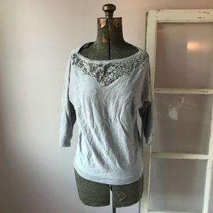WHBM Light Gray Bead Embellished Sweatshirt